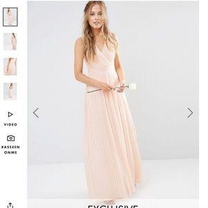 ASOS pleated blush maxi dress